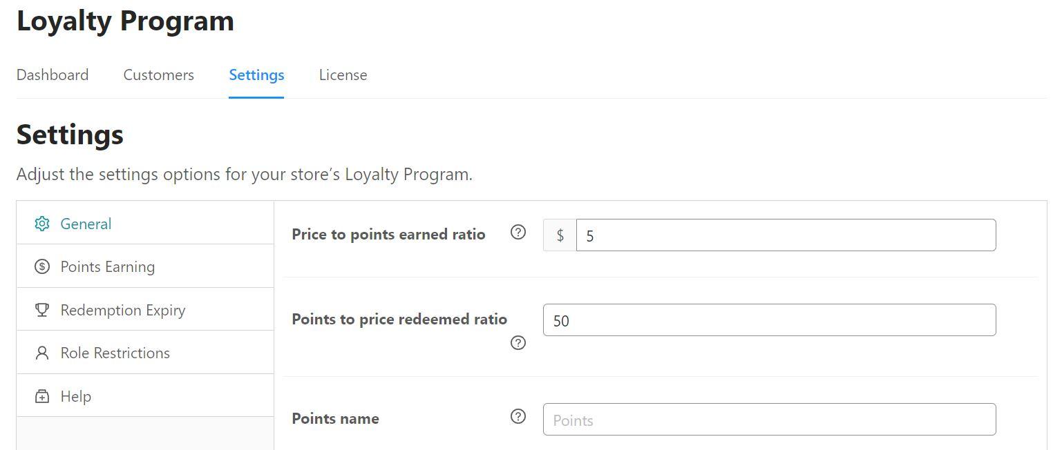Adjusting the settings for Loyalty Program