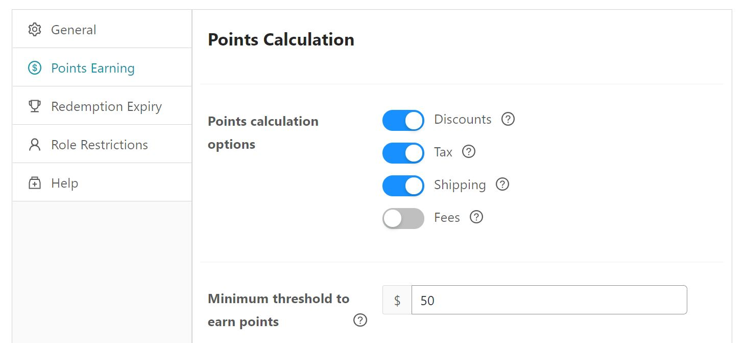 Selecting the points calculation options and minimum threshold to earn points.