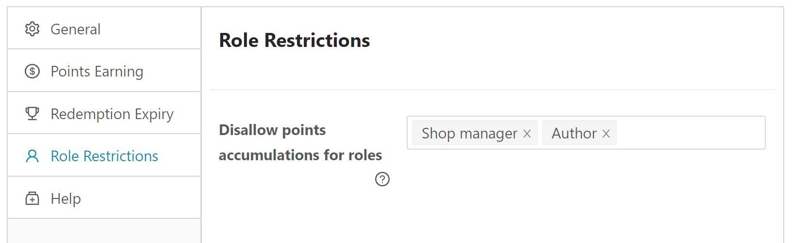 Set role restrictions for reward points.