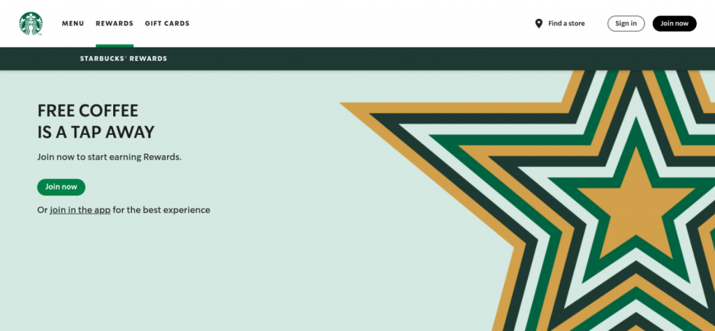 The Starbucks loyalty program website.