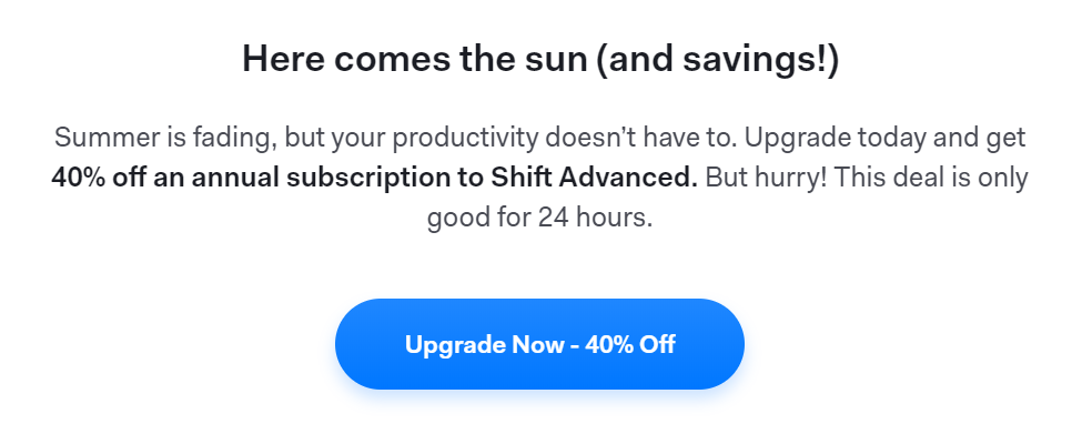 An example of a timed deal