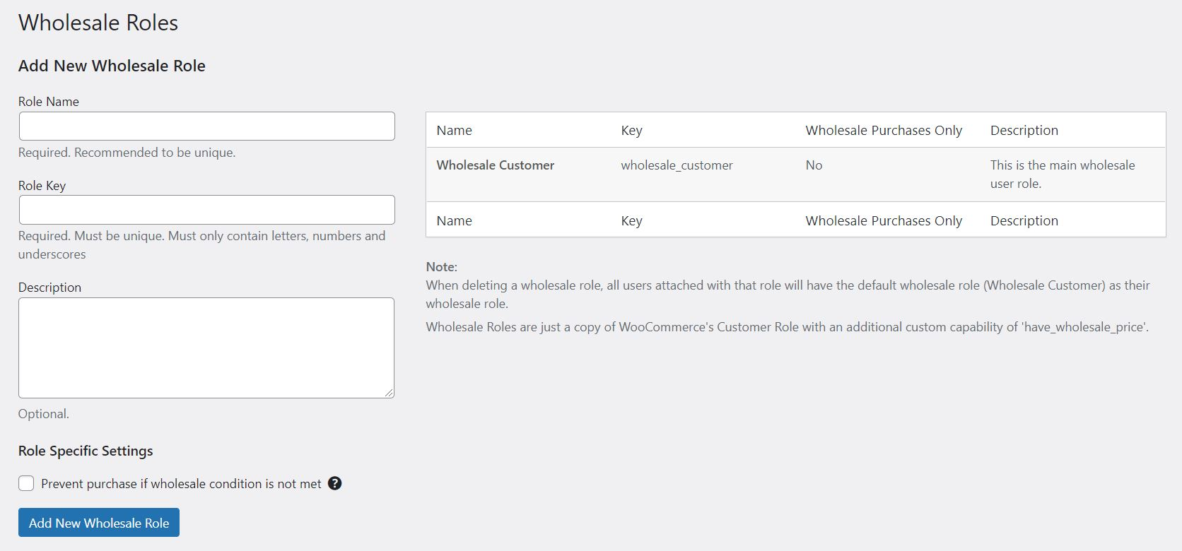 The option to set up a wholesale roles in Wholesale Suite, which is the best discount plugin for WooCommerce.