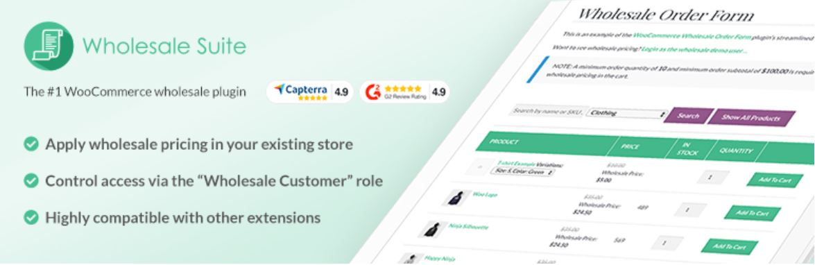 Wholesale suite helps you take your wholesale business online.