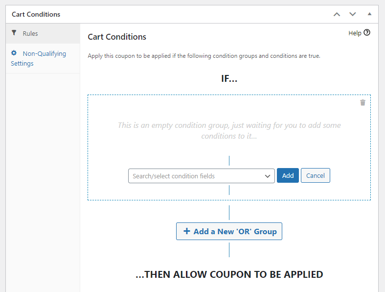 The Advanced Coupons cart conditions system