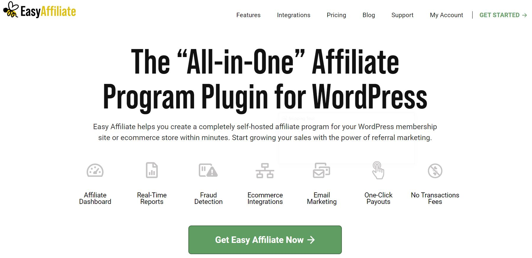 The Easy Affiliate homepage