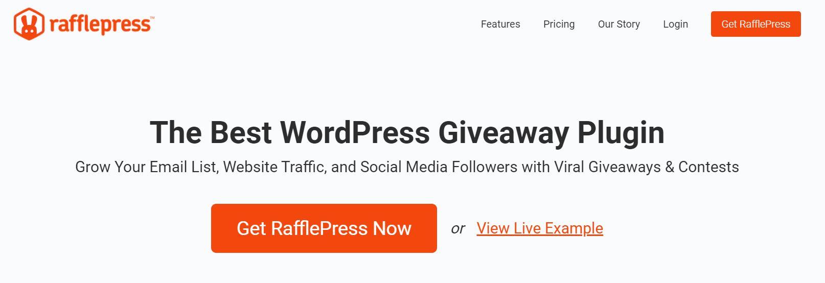 The RafflePress homepage