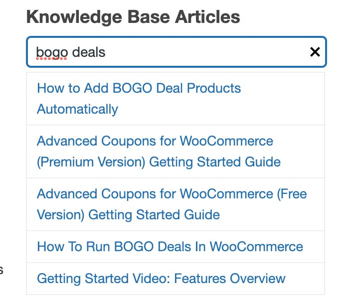 Example using the search to fetch help articles about BOGO deals
