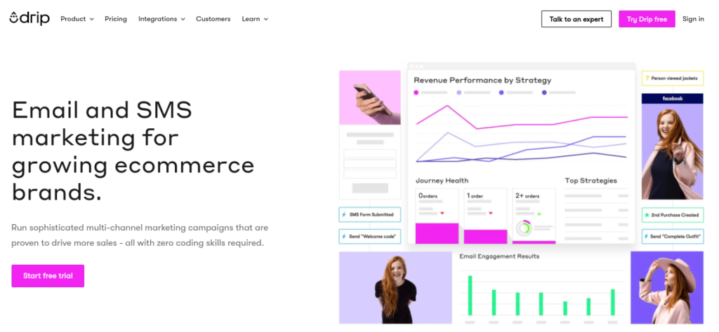 The Drip email marketing WooCommerce tool website.